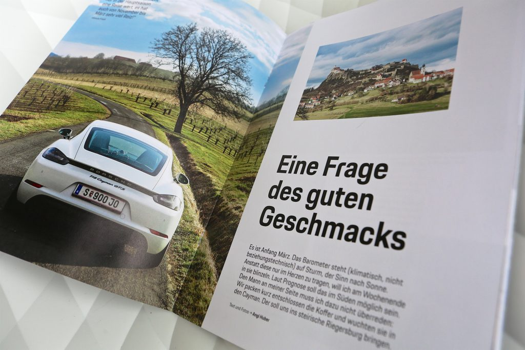 Angi Huber, Salzburg, PR und Kommunikationsdesign, Reportage Porsche Kundenmagazin (Text und Bild)